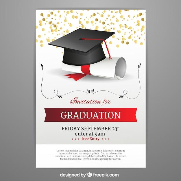 Graduation Invitation Template In Realistic Style Vector