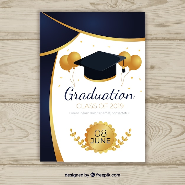 Graduation invitation template with flat design Free Vector