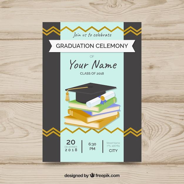 Graduation Invitation Template With Flat Design Vector