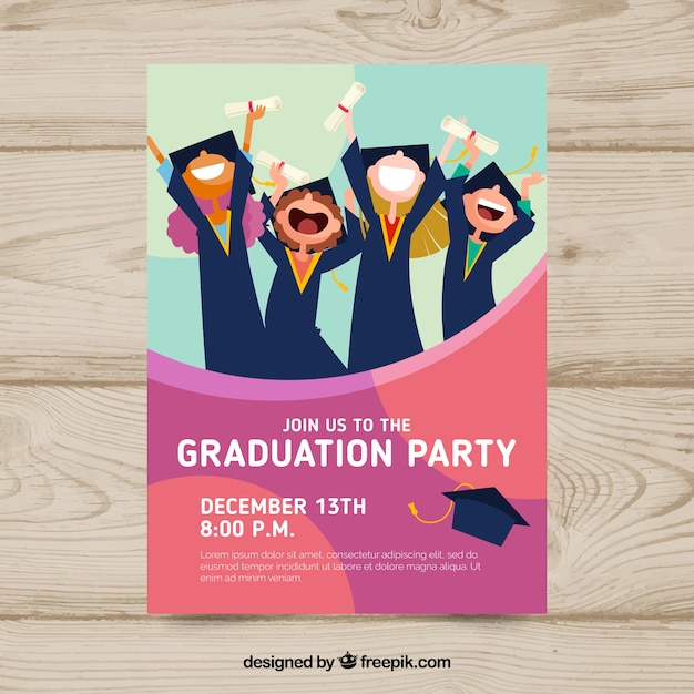 Graduation Invitation Template With Flat Design Vector