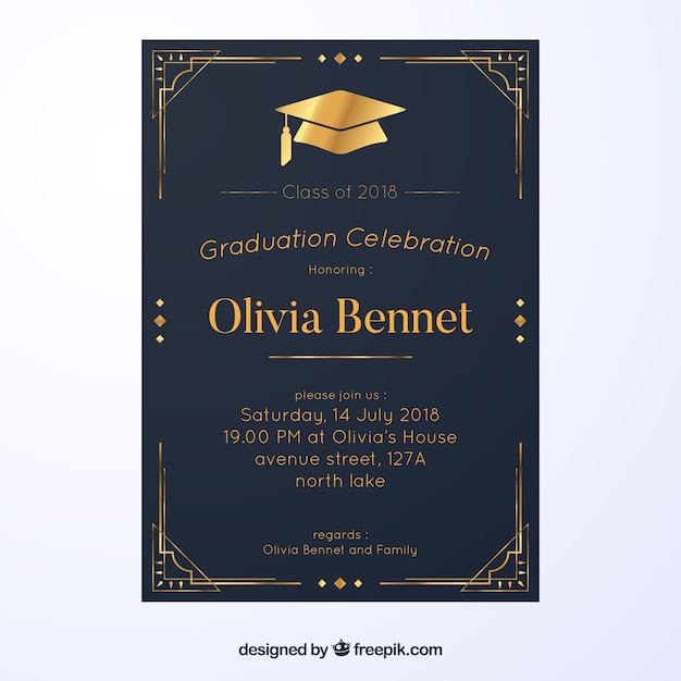Graduation invitation template with flat design vector free download graduation invitation template with flat design free vector filmwisefo