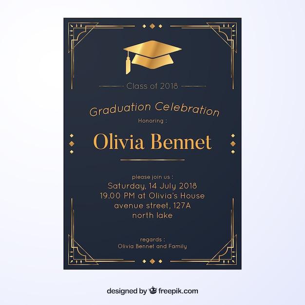 Graduation invitation template with flat design Free Vector