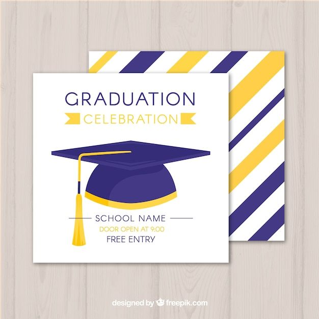 graduation invitation template with flat design vector free download
