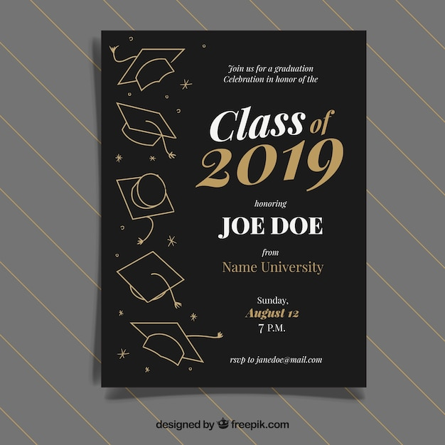 Graduation invitation template with golden style Free Vector