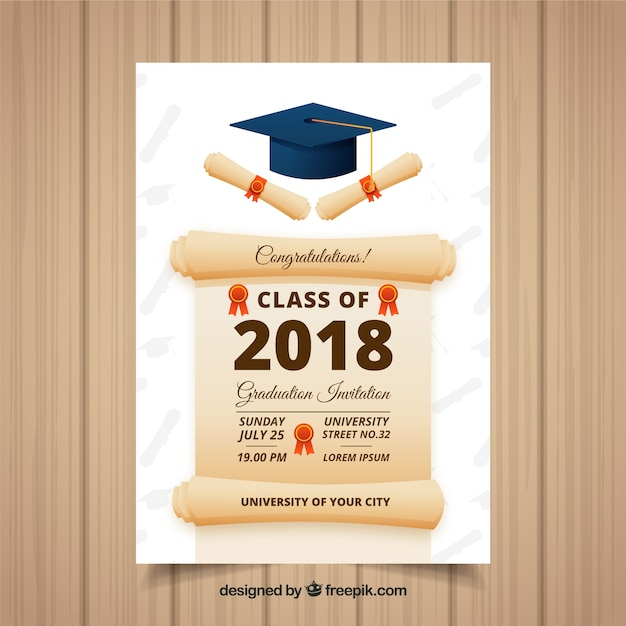 graduation invitation template vector free download