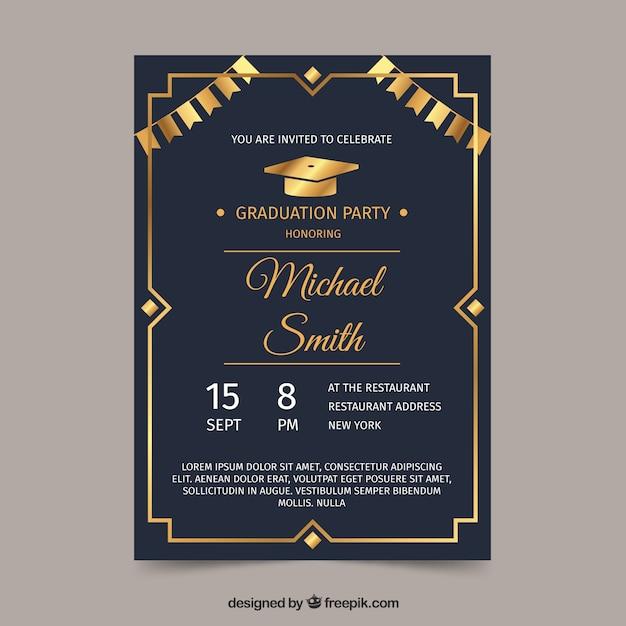 graduation invitation template vector free download