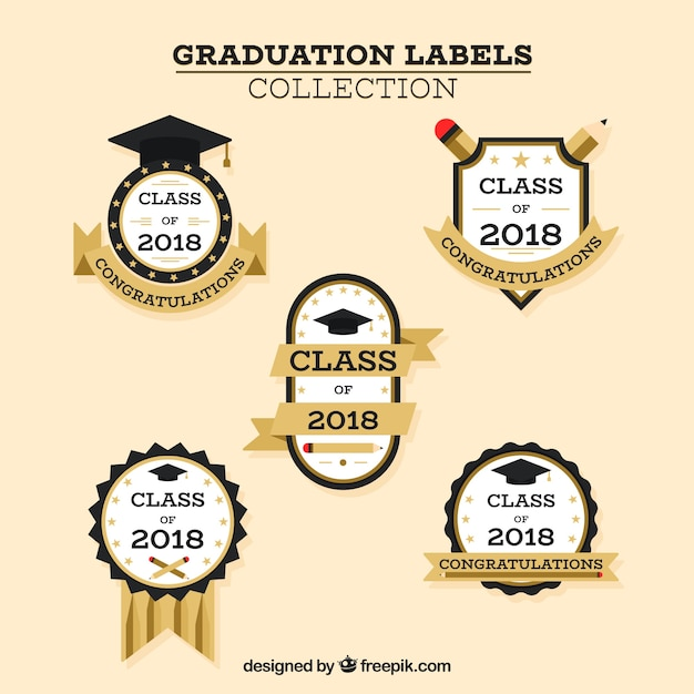 Graduation label collection with flat design Free Vector