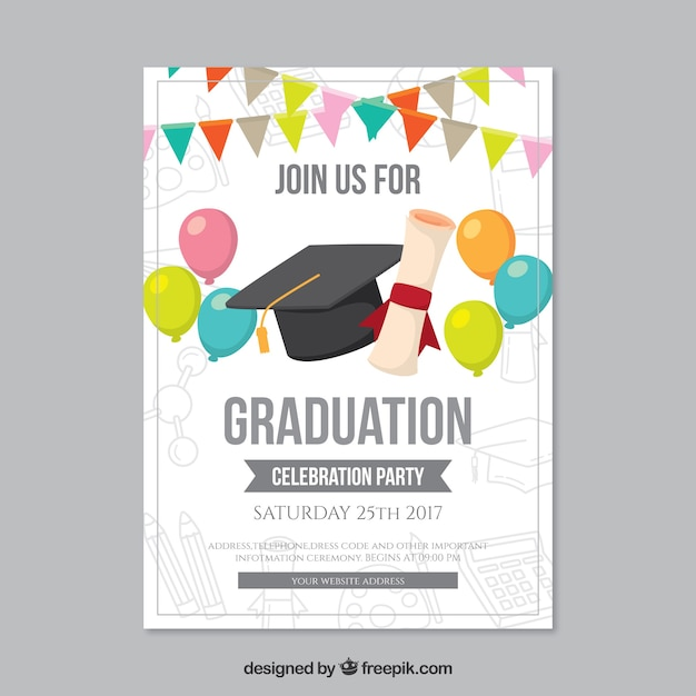 Graduation party brochure with balloons and garlands for Graduation brochure templates