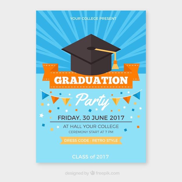 graduation brochure templates - graduation party brochure with orange details vector