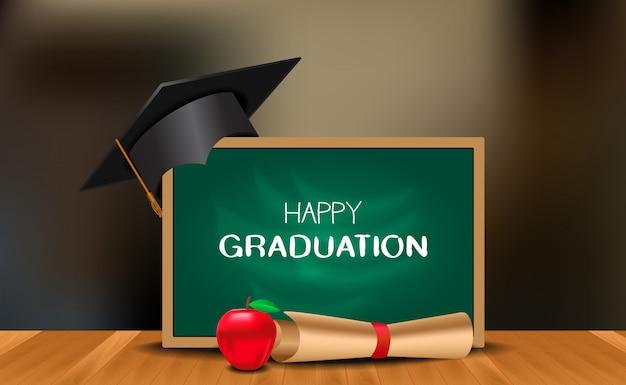 Graduation party ceremony with graduation cap with chalk board Premium Vector