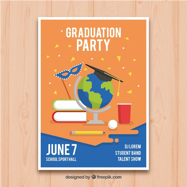 Graduation party flyer in flat design Free Vector