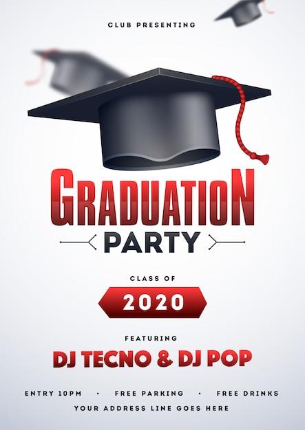 Graduation party flyer. Premium Vector