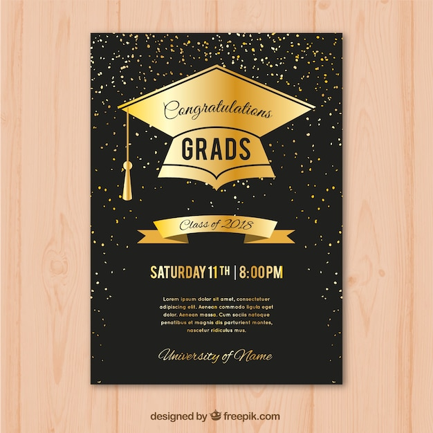 Graduation party invitation in luxury style Free Vector