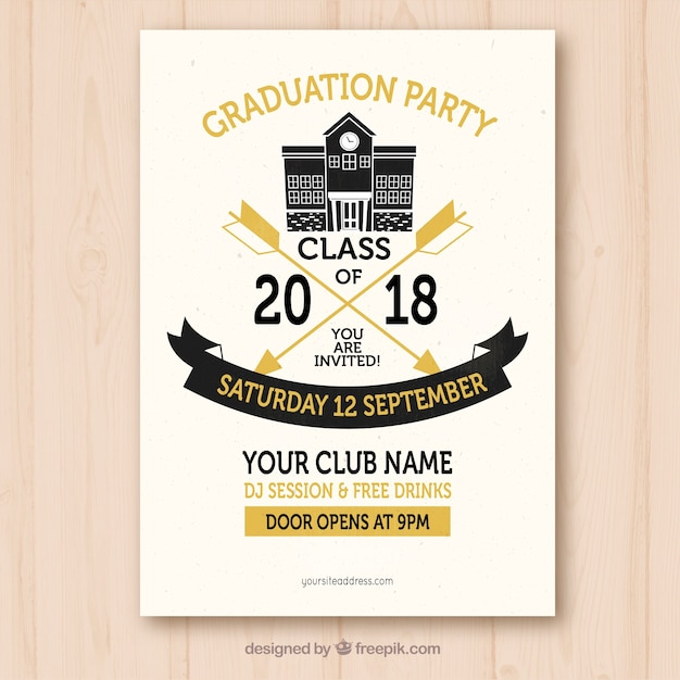 Graduation Party Invitation Template Vector Free Download