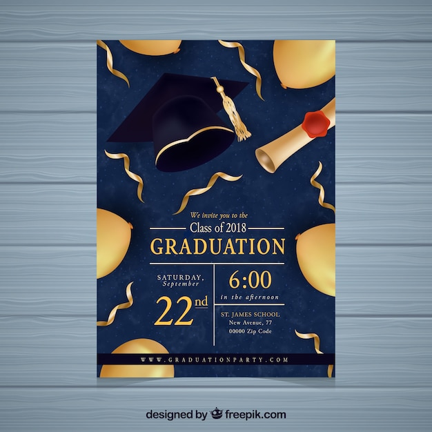 Graduation party invitation with golden elements Free Vector