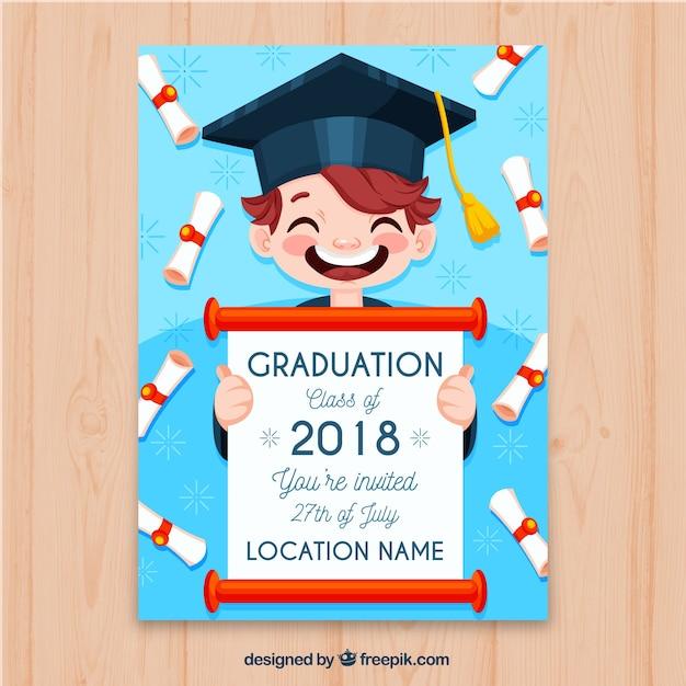 Graduation party invitation with happy kid Free Vector