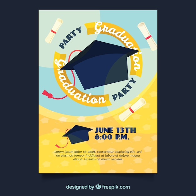 Graduation party invitation with mortarboard vector free for Graduation mortar board template