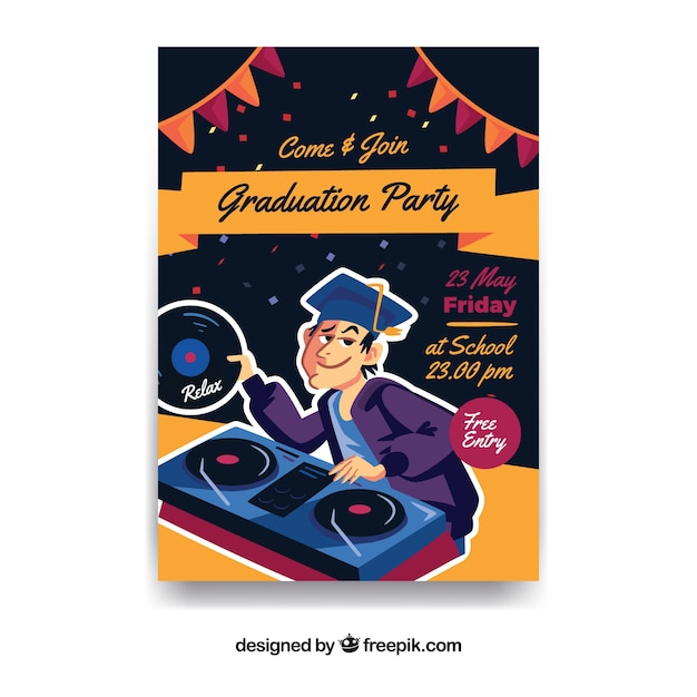 graduation party leaflet with dj vector free download