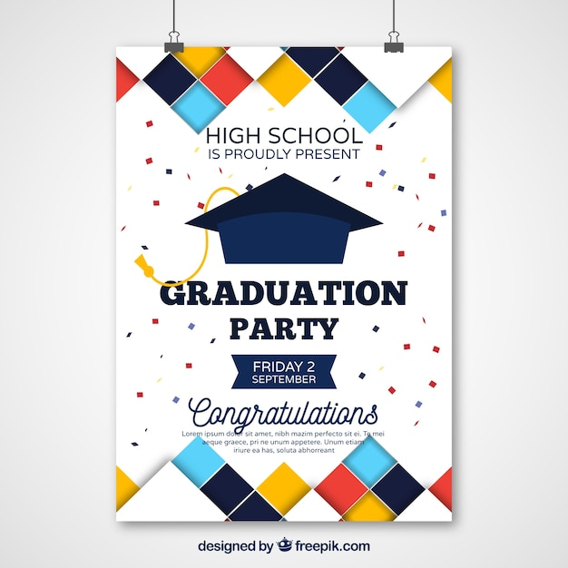 Graduation party poster with colored squares Premium Vector