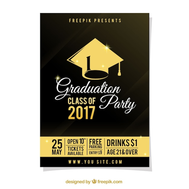 Graduation party poster with gold details Free Vector