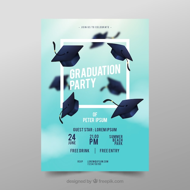 Graduation party poster Free Vector