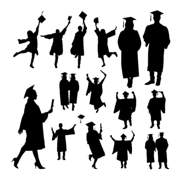 Graduation silhouettes Premium Vector