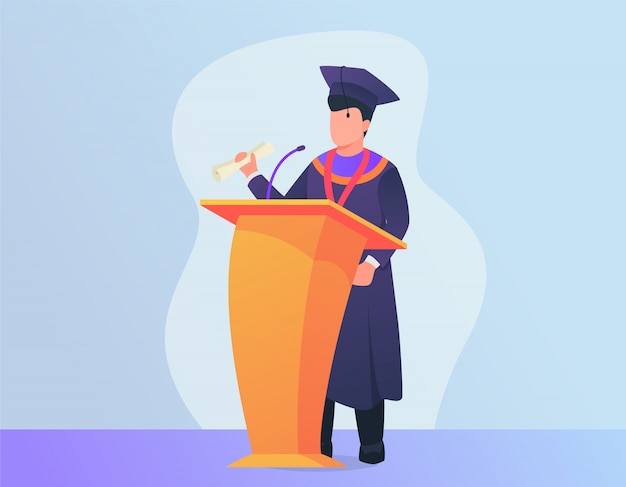 Graduation speech concept with man giving speech on podium with modern Premium Vector