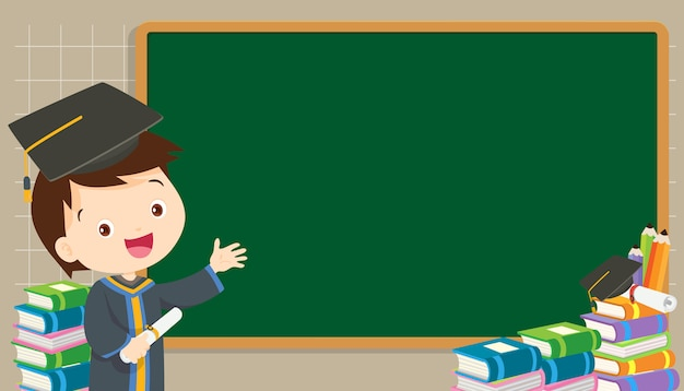 Graduation student with chalkboard Premium Vector
