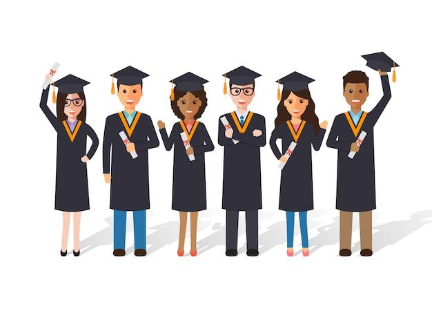 Graduation students. Premium Vector