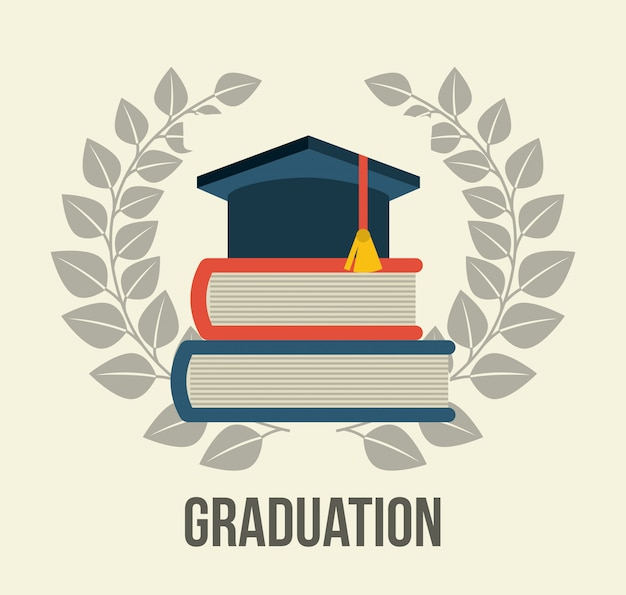 Graduation over white background Free Vector