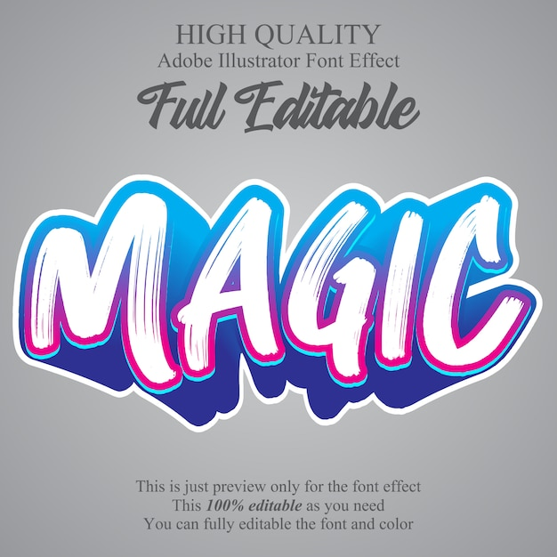 Graffiti brush style editable font effect Premium Vector