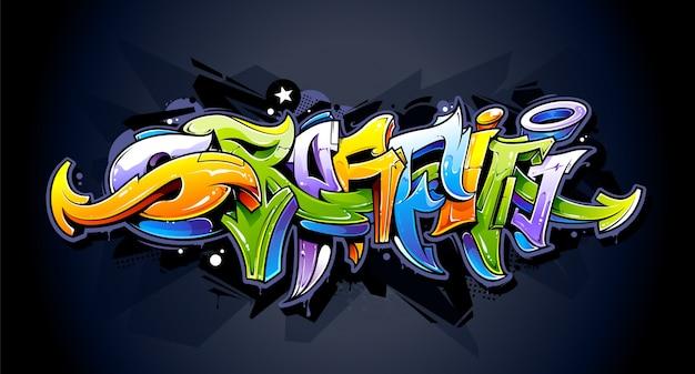 Graffiti design on wall Free Vector