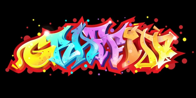 Graffiti lettering on black background vector illustration Premium Vector