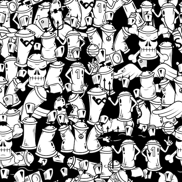 Graffiti spray can characters seamless pattern Free Vector