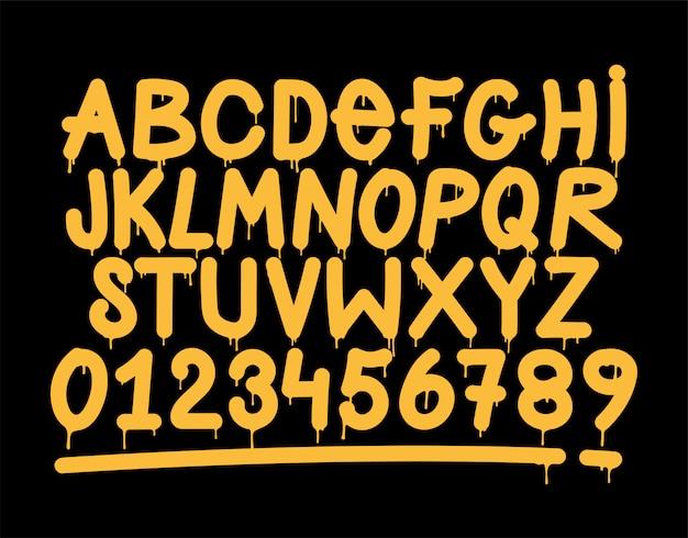 Граффити вандал тег стиль алфавит. Premium векторы