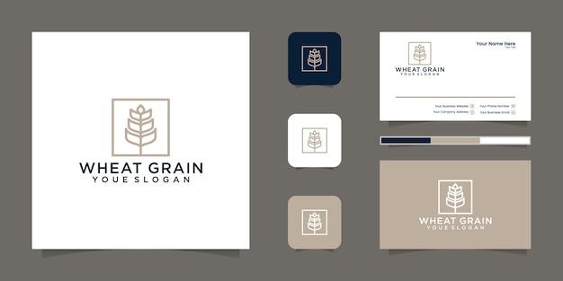 Grain wheat logo line art and business card Premium Vector
