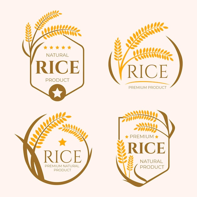 Grains business logo template collection Free Vector