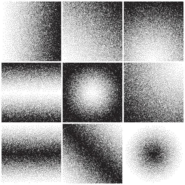 Grainy sand textures, noise, grange gradient, dirty distressed effect. vector backgrounds set Premium Vector