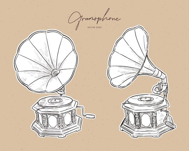Gramophone- vintage hand drawn Premium Vector