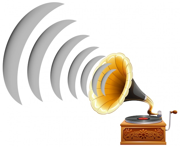 Gramophone with sound wave icon Free Vector