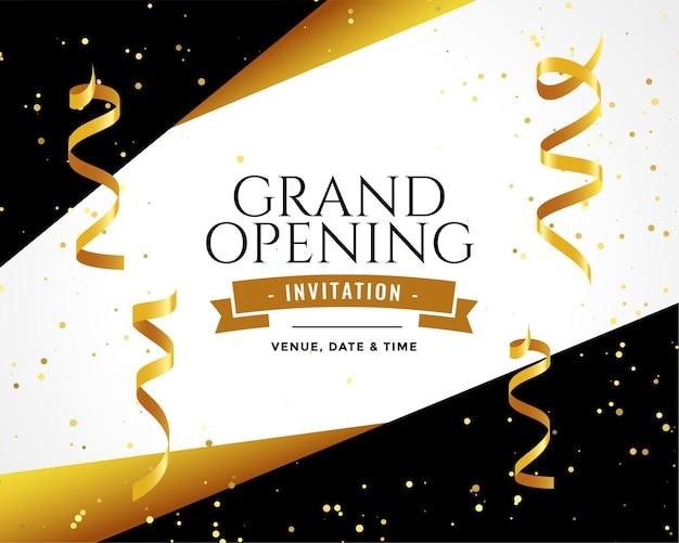 Gran dopening design invitation card in golden colors Free Vector