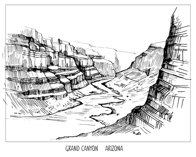 Grand canyon. landscape of usa. hand drawn ink sketch . shape isolated with transparent background Premium Vector