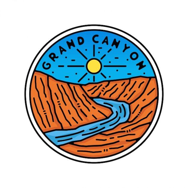 Grand canyon monoline vintage outdoor badge design Premium Vector