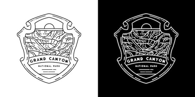Grand canyon national park monoline Premium Vector
