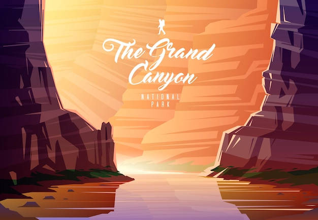 The grand canyon national park. nature of arizona, the usa. the colorado river. Premium Vector