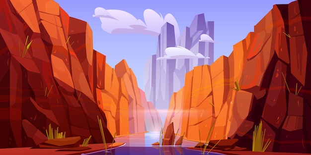 Grand canyon with river on bottom, park of arizona Free Vector