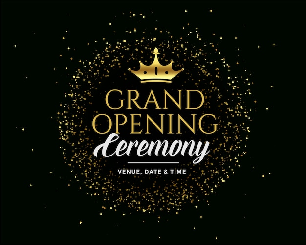 Grand open golden premium dark invitation Free Vector