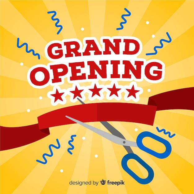 Grand opening background flat design Free Vector