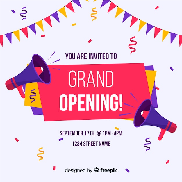 Grand opening background in flat style Free Vector