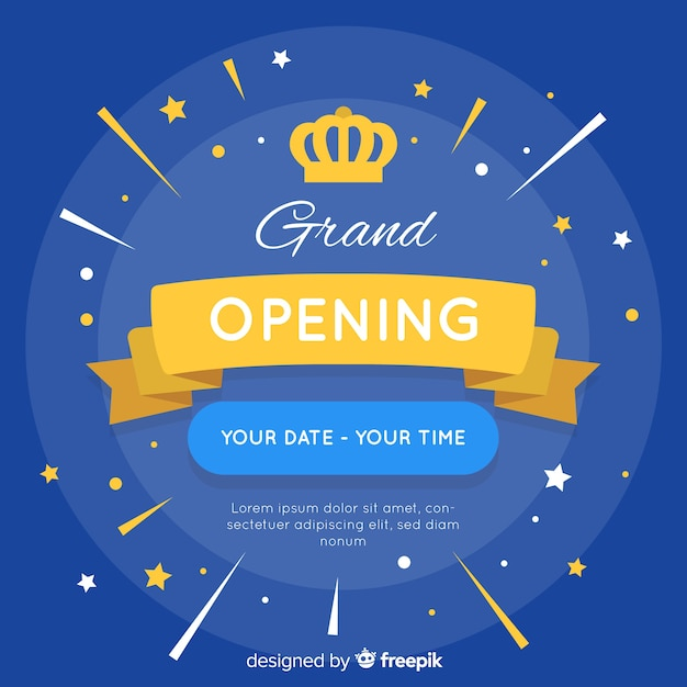 Grand opening background in flat style Premium Vector